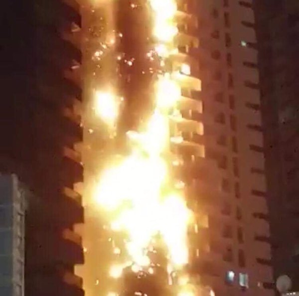 The fire broke out at the Ajman One Towers on March 28, 2016.