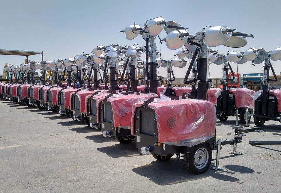 The metal halide light towers will be delivered to an oil and gas construction project in the remote Kuwaiti desert.