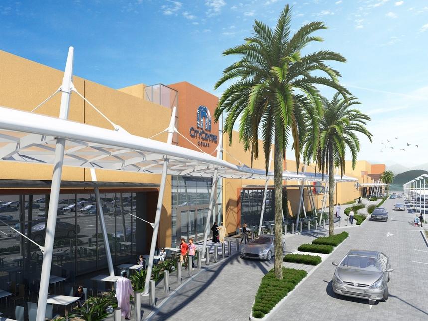Rendering of City Centre Sohar in Oman.