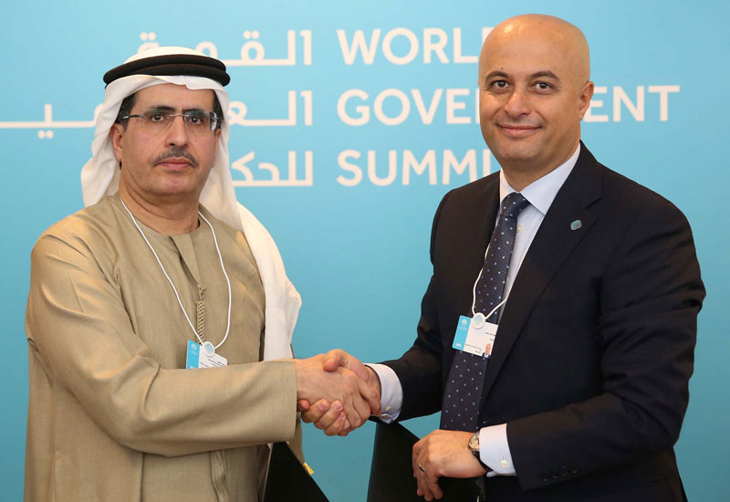The MoU was signed by DEWA's HE Saeed Mohammed Al Tayer (left) and Microsoft Gulf's Samer Abu-Ltaif (right) on the opening day of the World Government Summit.