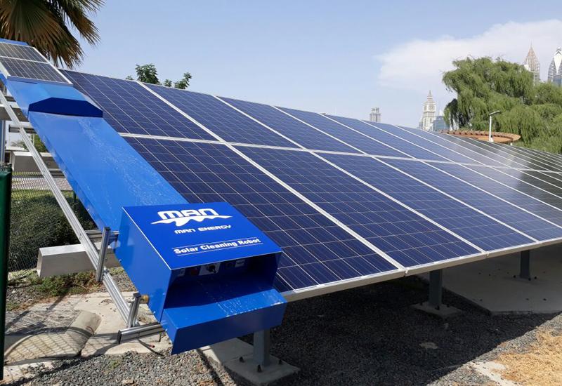Dubai Municipality tested the solar panel-cleaning robots in Al Khazan Park.