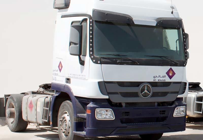 An Al Khaldi-branded Mercedes-Benz Actros.