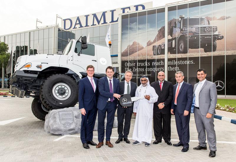 Representatives from Daimler, Emirates Motor Company and Abu Dhabi's Suhail Al Mazroui Transportation and Heavy Equipment.