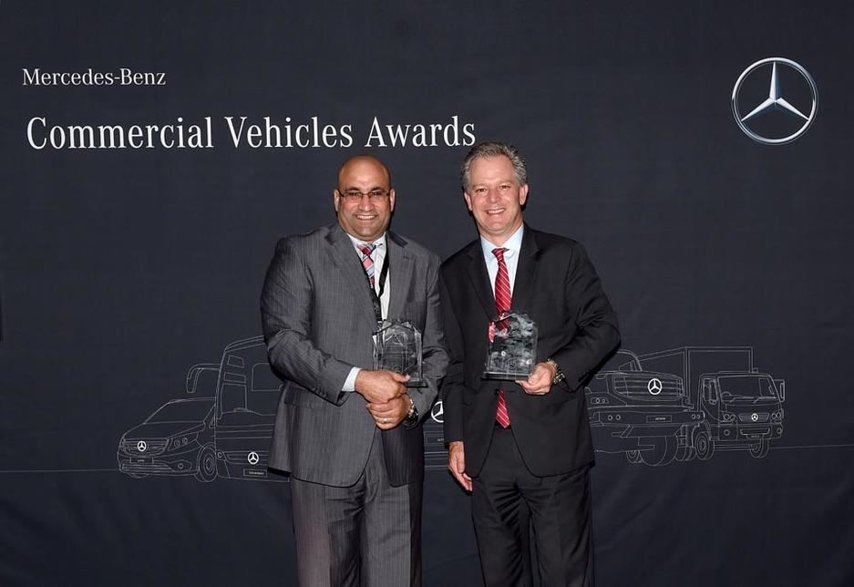 Bilal Al Ribi, GM for commercial vehicles at EMC, and Frank Bernthaler, CEO of Al Fahim Automotive.