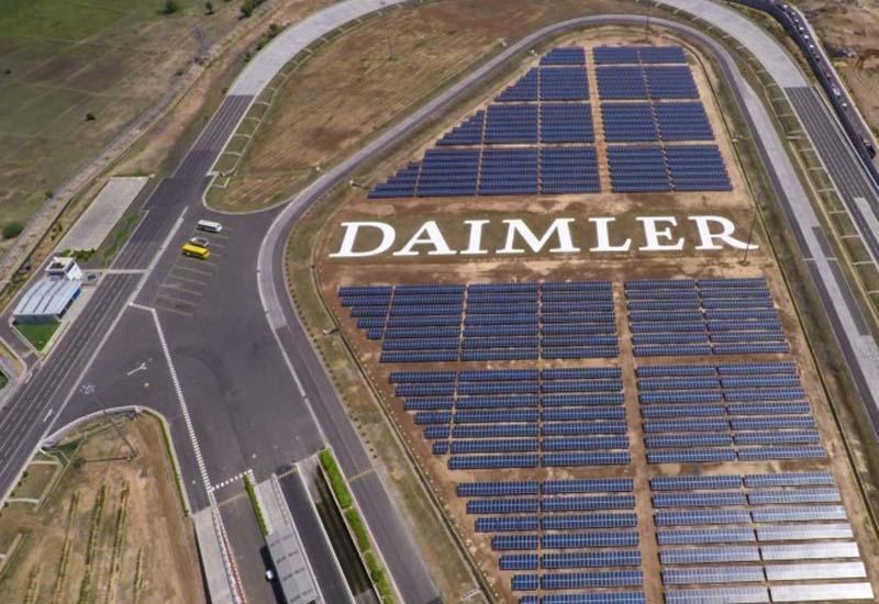 The 10,000 polycrystalline photovoltaic panel array at Daimler's manufacturing plant in Oragadam, near Chennai, India.