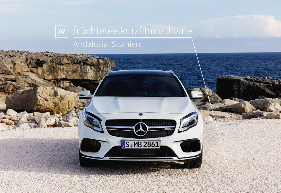 A Mercedes-Benz at an example what3words address in Andalusia, Spain.
