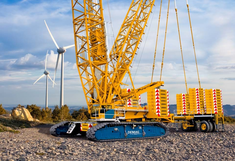 A Demag CC 3800-1 lattice boom crawler crane equipped with a Terex Boom Booster kit and Superlift for the purpose of wind turbine erection operations.