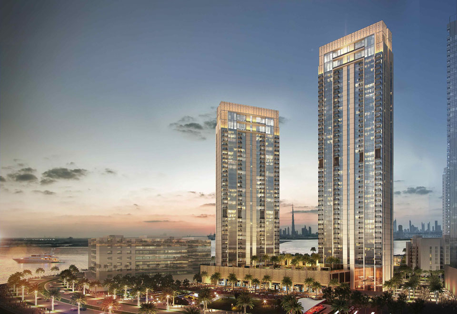 A rendering of the two towers of the waterfront Creekside 18 development.