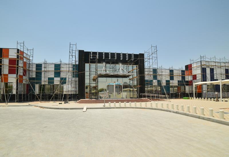 The Dubai faade features 800 coloured solar panels.
