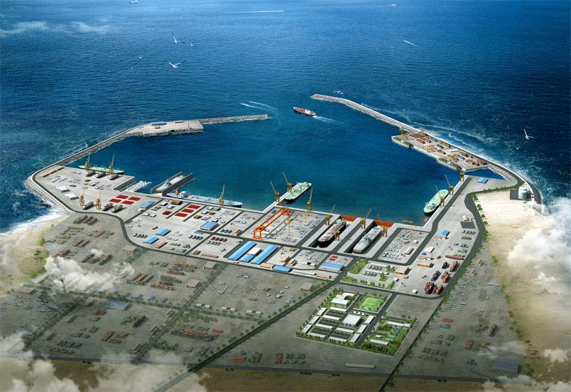 Duqm harbour in Oman.