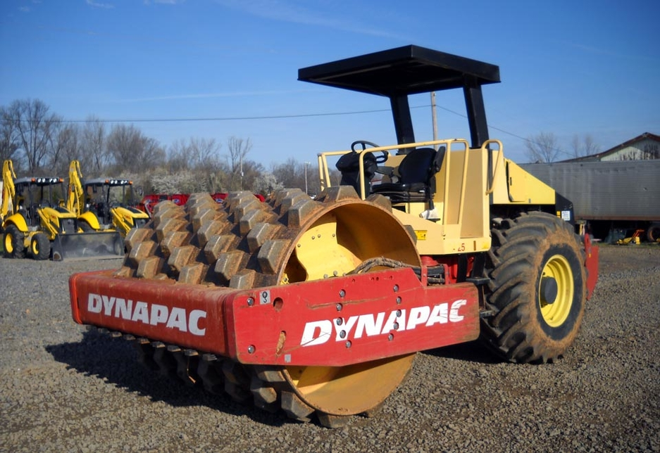 A Dynapac roller ground compactor.