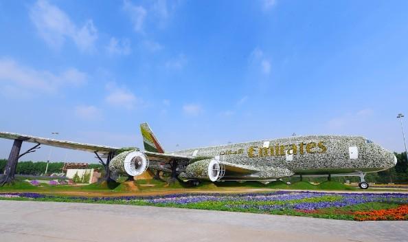 Emirates A380 floral installation at Dubai Miracle Garden.