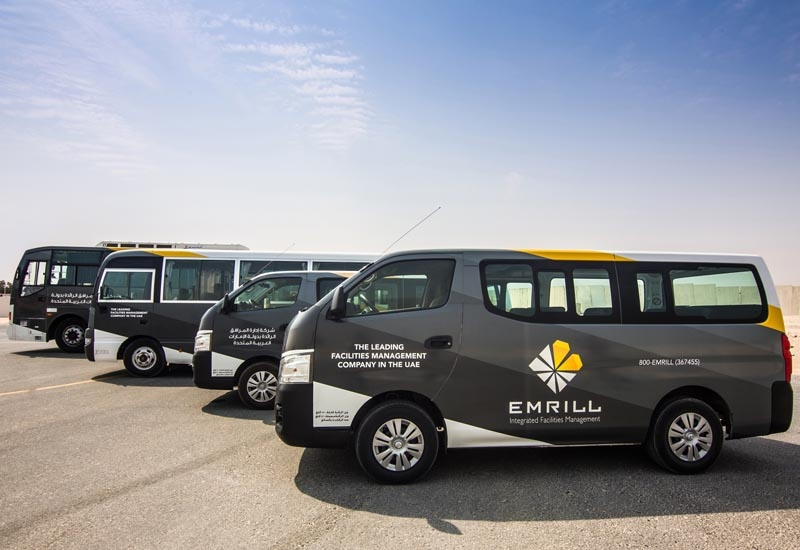 Emrill has a fleet of 180 vehicles, including large 60-seater buses, vans and 4x4 patrol vehicles.