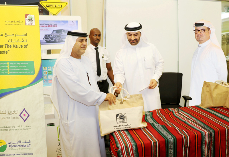 Eng. Talib Julfar, Assistant Director General of Dubai Municipality for Environment and Public Health Services Sector and Eng. Abdulmajeed Sifai, Director of Waste Management Department during the launch of the initiative at the Emirates Cooperative Society.