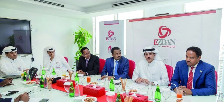 Sheikh Dr Khalid bin Thani bin Abdullah Al Thani (second right), chairman of Ezdan Holding Group and dignitaries from Ethiopia at the recent meeting in Doha.