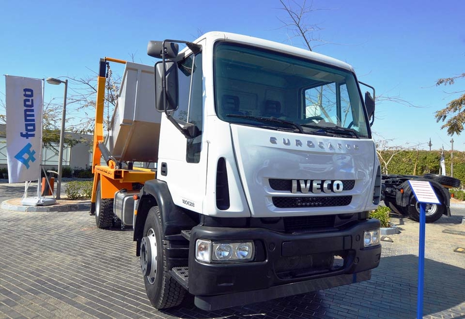 An Iveco Eurocargo medium-duty truck on display at the premises of FAMCO Egypt.
