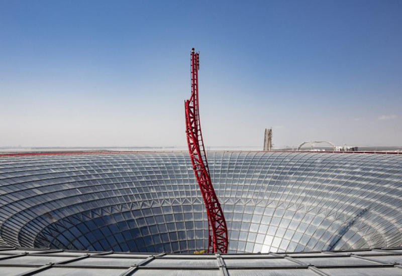 At 64m in height, Ferrari World's Turbo Track rollercoaster is the tallest structure on Yas Island [Image: <i>WAM</i>].