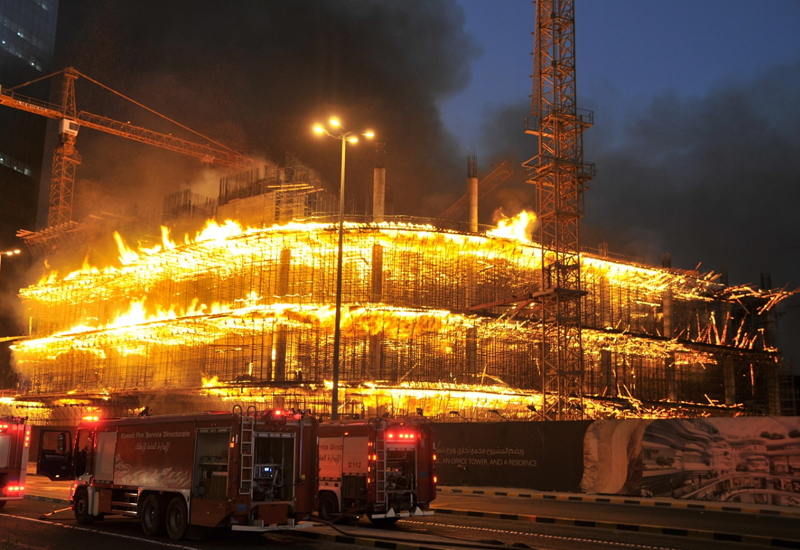 It took 180 firefighters to extinguish the blaze in Kuwait's Sharq area [image: <i>KUNA</i>].