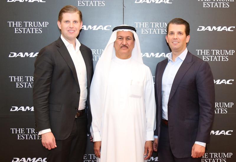 Damac chairman Hussain Sajwani welcomes guests of honour Eric Trump and Donald Trump Jr.