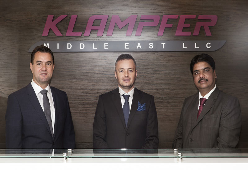 From left: Klampfer Middle East managing director, Günther Hinterberger  director Joe Szabo, and Brayan Group CEO Praveen Sarapure.