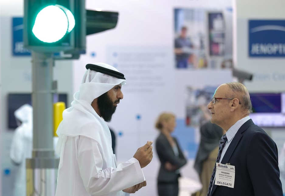 Attendees in conversation at  Gulf Traffic in 2015.