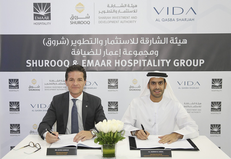 HE Marwan bin Jassim Al Sarkal, CEO of Shurooq (right) and Olivier Harnisch, CEO of Emaar Hospitality Group.