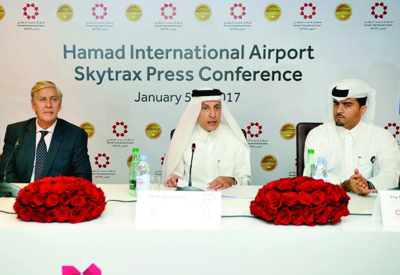 Akbar Al Baker, Group Chief Executive of Qatar Airways (centre) Edward Plaisted, CEO Skytrax (left) and Badr Mohammed Al Meer COO of Hamad International Airport (HIA), during the press conference at HIA. (image: The Peninsula)