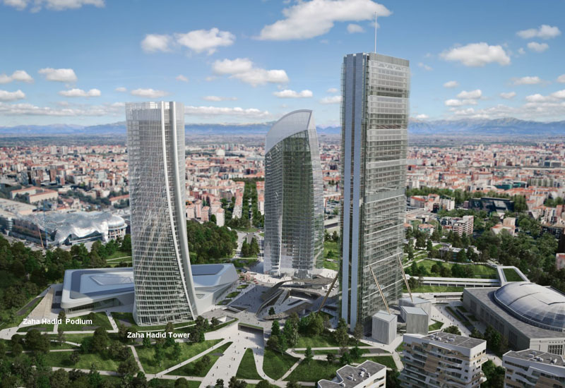 A rendering of the three towers in the CityLife Milano development.