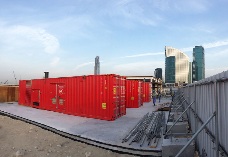 HTW-1745 generator sets installed in 40-foot containers at Dubai Festival City by UAE dealer FAMCO.