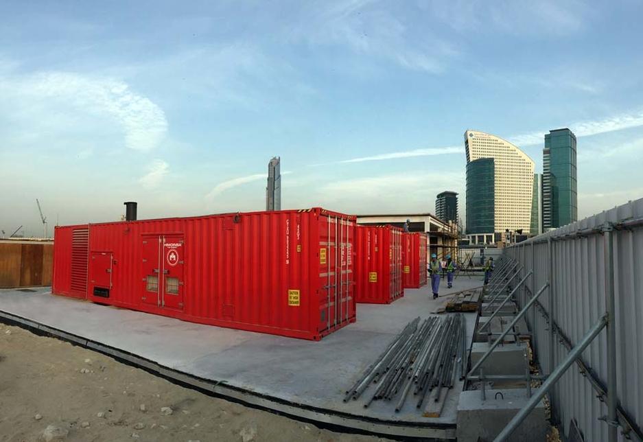 Containeurised Himoinsa generator sets at Dubai Festival City, Dubai, where back-up power is now mandated on all major developments.
