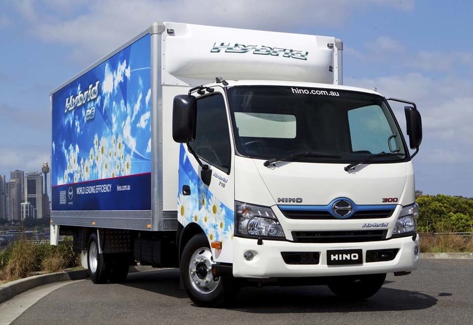The Hino 300 Series Hybrid light-duty truck reduced emissions by idling when stationary and through regenerative braking, among other features.