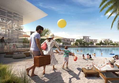 Hive Beach on the swimmable lagoon in Tilal Al Ghaf.