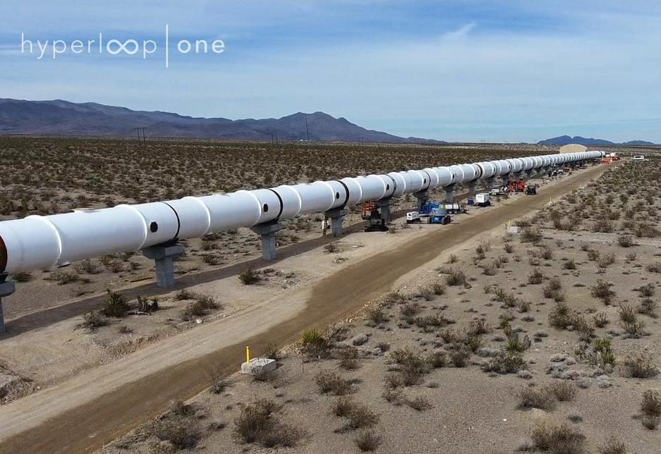 DevLoop, where its 500m-long, 3.3m-wide Hyperloop prototype in the Nevada Desert, 30km from Las Vegas.