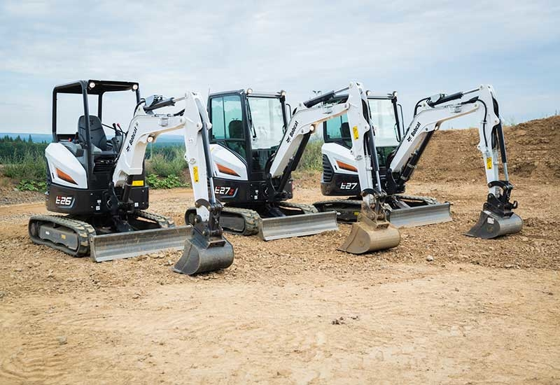 Bobcats E26, E27z and E27 compact excavators.