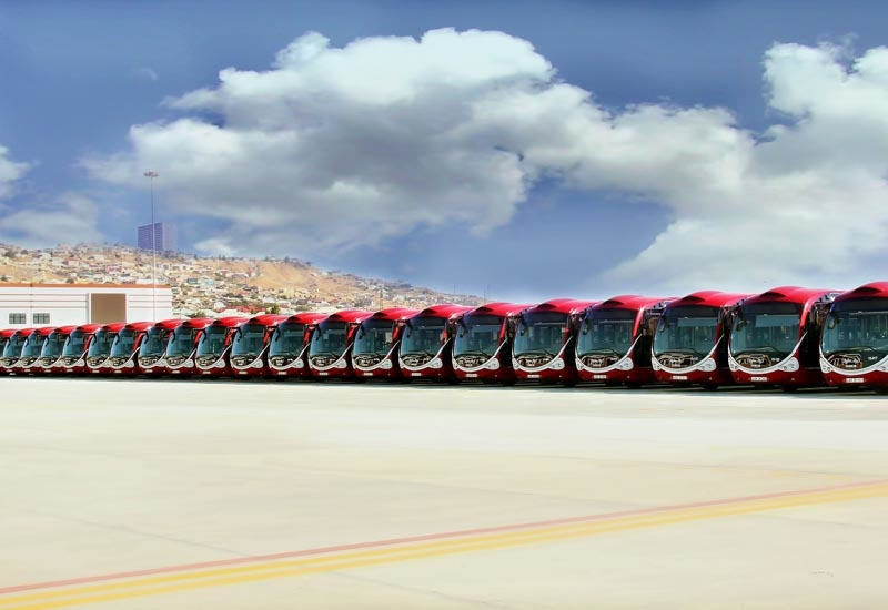 CNG-powered Iveco Crealis buses on the tarmac in Baku, Azerbaijan.