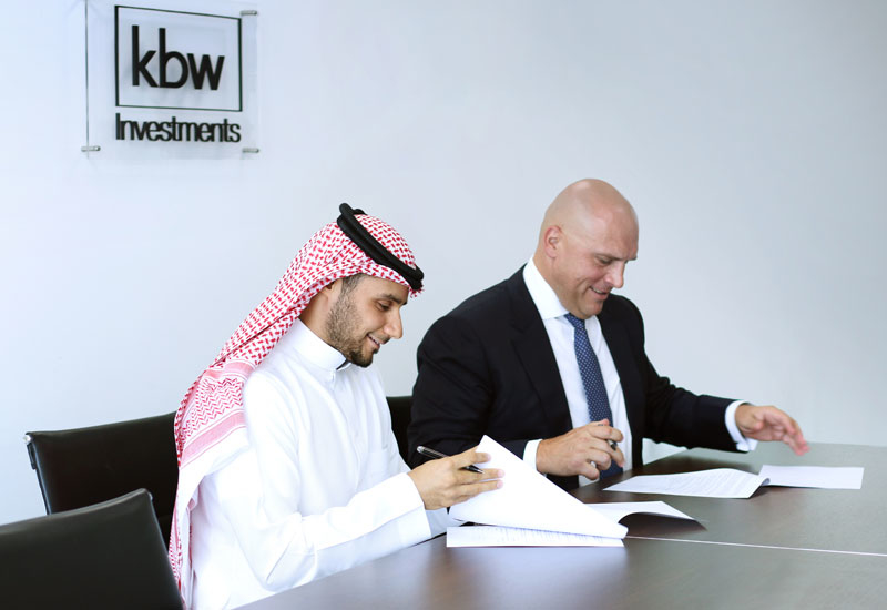 KBW Investments' HRH Prince Khaled bin Alwaleed bin Talal (left) and Grayscale Interiors' Dr Gary Vastag (right) signed the majority acquisition agreement in Dubai, UAE.