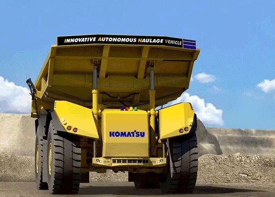 The vehicle is designed to shuttle material in forward and reverse travel directions.