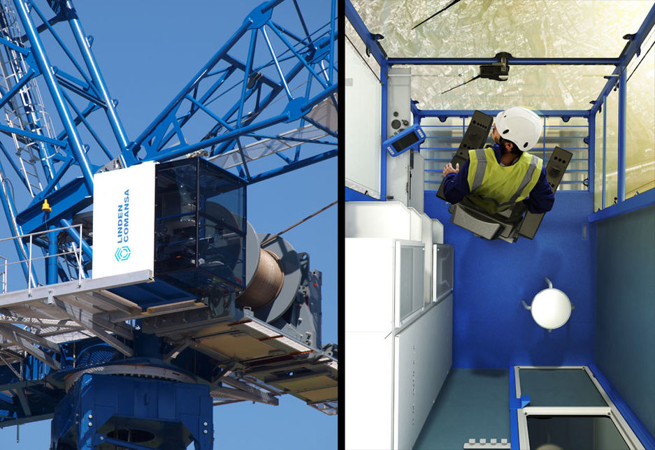 Left: the CUBE cabin installed on a Linden Comansa crane; right: the view from inside the CUBE cabin.