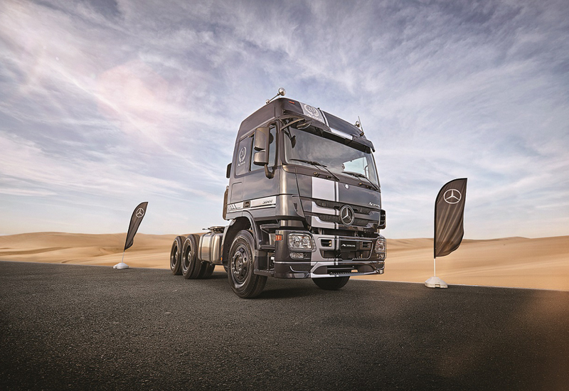 Mercedes-Benz's special edition Actros features active brake assist, Telligent Proximity Control, Telligent Lane Assist, and acceleration skid control.
