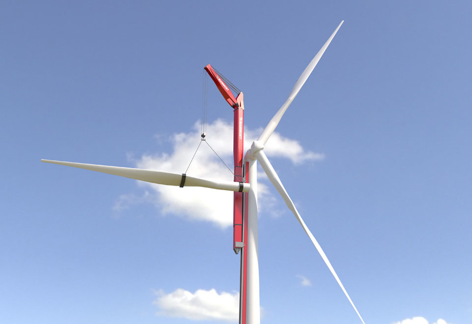 The first of Mammoet's new concepts, the WTA 250, or 'Wind Turbine Assembly' crane, can lift 250 tonnes and is being developed in close cooperation with MECAL.