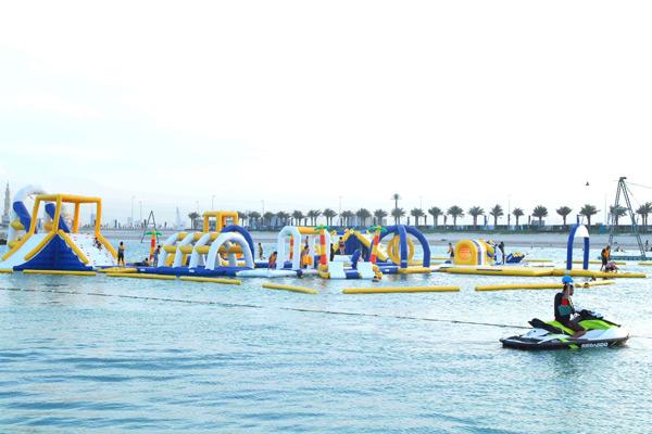 The Marassi Al Bahrain floating water park.