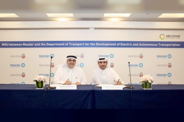 Masdar has signed a partnership agreement with the Department of Transport - Abu Dhabi [image: WAM].
