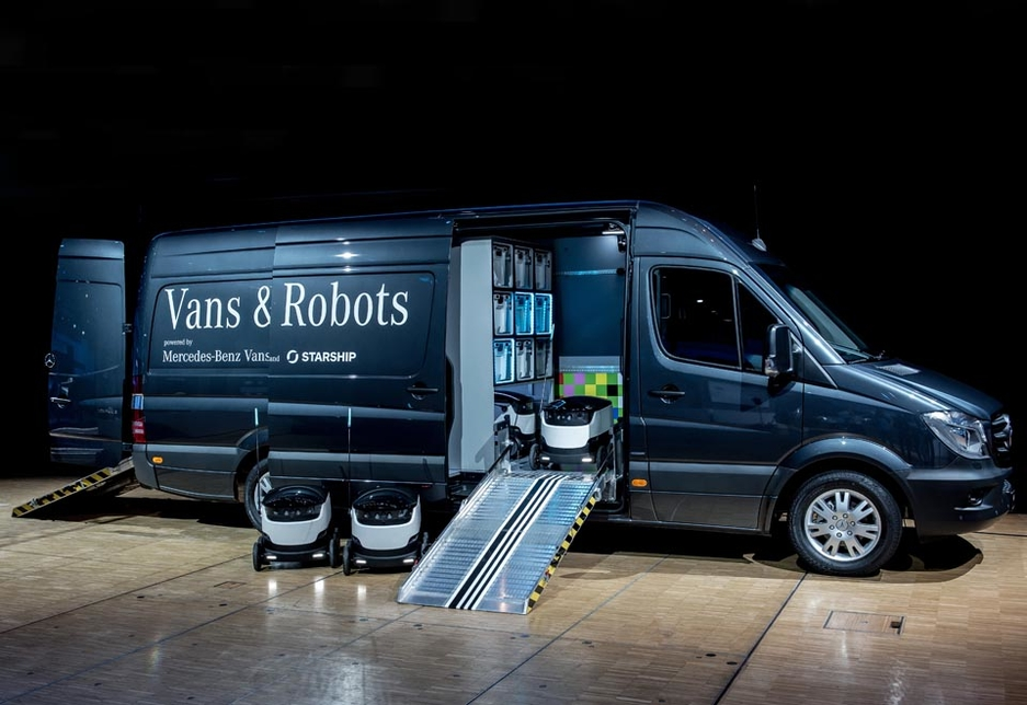 The first prototype, as Sprinter van equipped with eight robots, emerged from a collaboration between Mercedes-Benz Vans and Starship Technologies in September 2016.