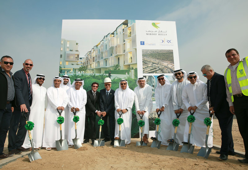 Groundbreaking ceremony at Mirdiff Hills construction site.