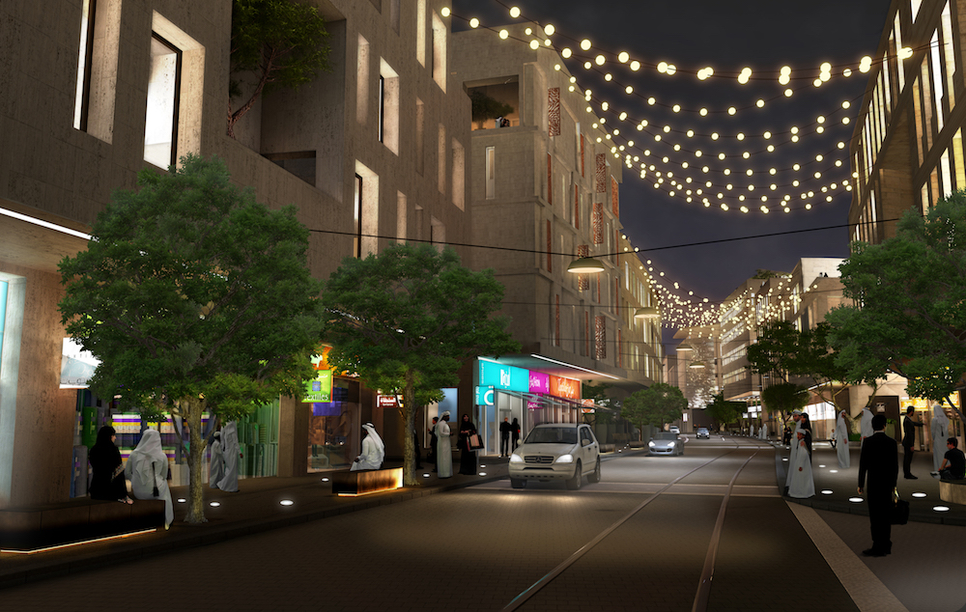 An artist's rendition of the Al Kahraba Street in Msheireb Downtown Doha.