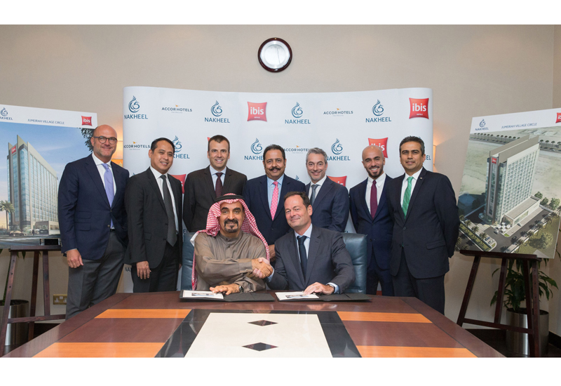 The agreement, for the new Ibis hotel, was inked Nakheel chairman Ali Rashid Lootah and Olivier Granet, managing director and chief operating officer for AccorHotels Middle East & Africa.