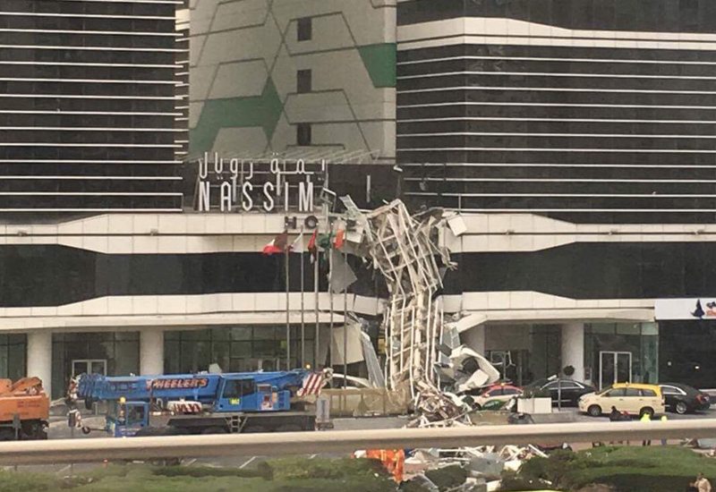 A tower crane collapsed at Dubai's Nassima Royal Hotel on Friday amid unusually high winds.
