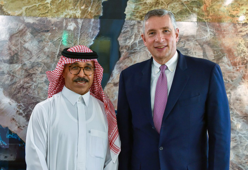 L-R: Eng Nadhmi Al-Nasr with Klaus Kleinfeld, both of whom will assume new roles on Saudi Arabia's Neom megaproject this August [image: Twitter / discoverneom].