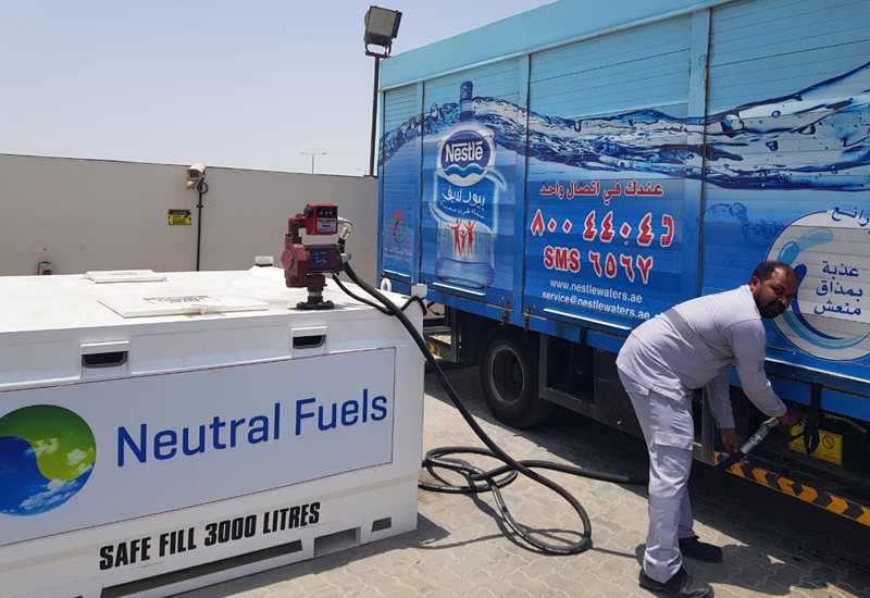 10 Nestl Waters trucks are using a cooking-oil based biofuel in Dubai.