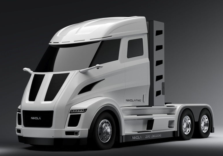 The design for the Nikola One and Two, which uses a hydrogen-electric powertrain being developed through a partnership between Nikola Motor Company and Bosch.